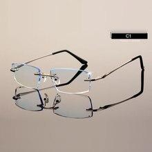 Mannen Eyewear C001 Diamant Trimmen Snijden Randloze Brillen Recept Optische Bril Frame voor Man Spectacles
