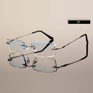 Image 1 - Men Eyewear C001 Diamond Trimming Cutting Rimless Eyeglasses Prescription Optical Glasses Frame for Man Spectacles