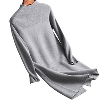 2018 New Casual Winter Dress Women Knitted Sweater Dress Long Sleeve Turtleneck Female Thicken Warm Loose