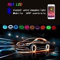 Car Interior Neon RGB LED EL Strip Light Atmosphere Decoration Lamp 6M Rope Tube Bluetooth Phone