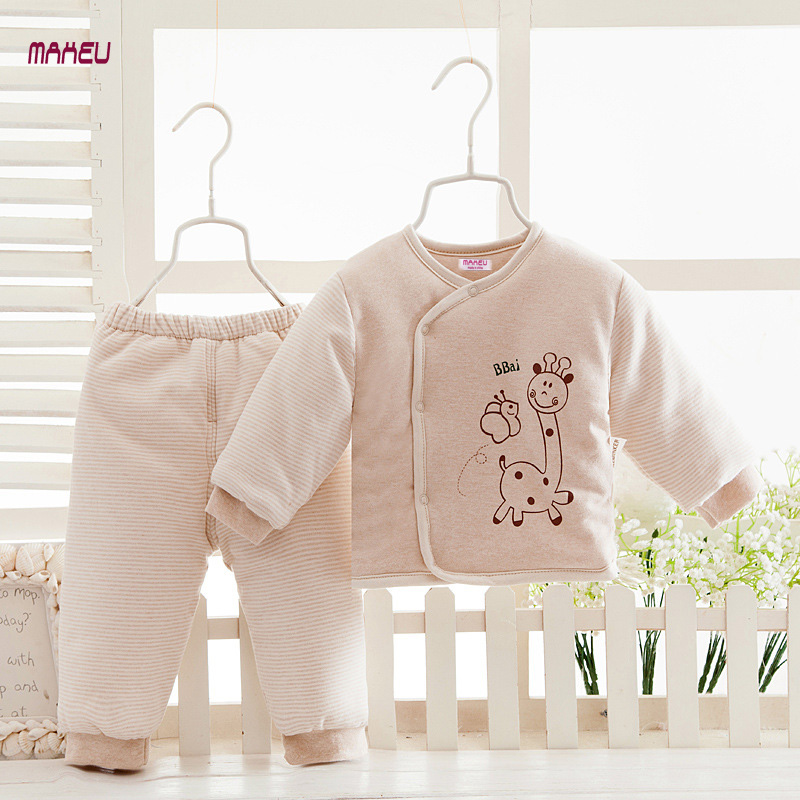 Organic Colored Cotton Baby Set Newborn Baby Gift Autumn and Winter Clothes Baby Boys and Girls Cotton Coat Baby Full Moon Gift