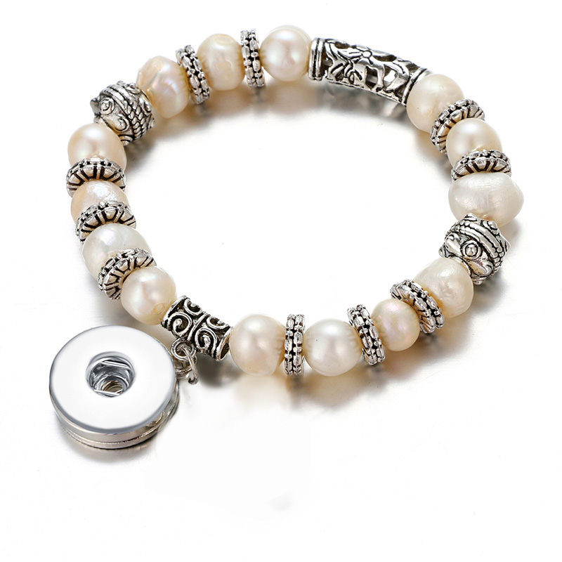 New AB0039 Vintage Natural freshwater pearls snap Bangle Bracelets Elastic fit 18MM snap button jewelry AB0039