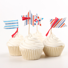 24pcs/lot Colorful Flags and Stars Cupcake Wrappers Fruit Toppers Toothpicks Party Supplies