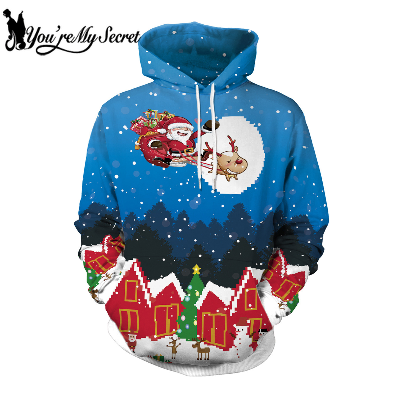 [You're My Secret] 2019 New Fashion Christmas Hooded Hoodie Long Sleeve Festival Santa Claus Print Sweatshirt for Women and Men