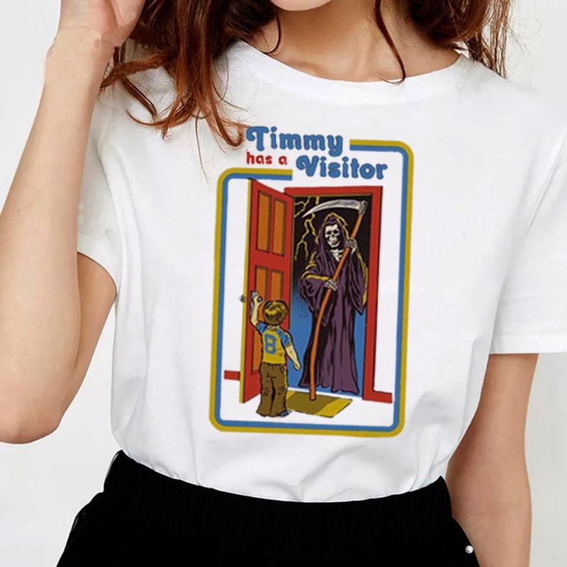 Летняя футболка для женщин, 2019, футболка с принтом «Timmy Has A visiter», Женская винтажная уличная футболка в стиле «Evil», 90 s, Femme