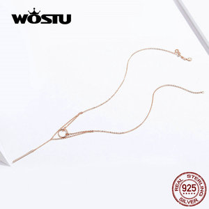 Image 4 - WOSTU แท้ 925 เงินสเตอร์ลิงเรขาคณิตสร้อยคอแฟชั่น Simple & วงกลมน่ารักปรับสร้อยคอผู้หญิง CTN078