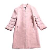 Настоящее меховое пальто оторочка из овечьей шерсти норковая шуба шерстяная куртка двусторонний мех 2018 зимнее пальто Женская длинная Коре