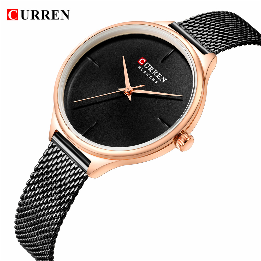 CURREN Fashion Simple Quartz Watches Women New Stainless Steel leather Strap Bracelet Female Wristwatch Casual Ladies Gift Clock