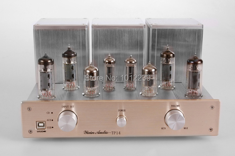 6P1 12W+12W Push-pull tube amp tube amp/Brushed aluminum fever amplifier/USB decoding computer sound card amplifier fanmusic 6p1 usb decoder tube amplifier