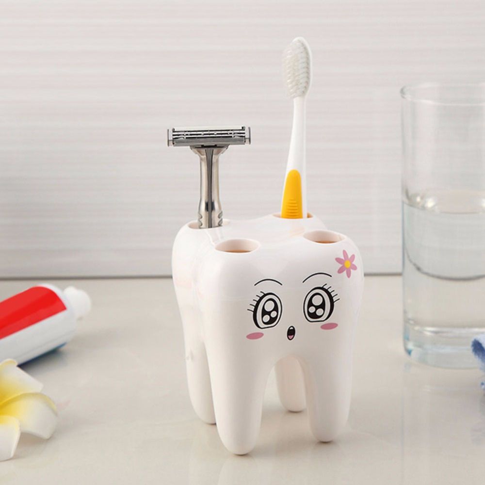 Teeth Style Bathroom Accessories Toothbrush Holder 4 Hole Cartoon Cute Toothbrush Stand Tooth Brush Shelf Bracket Container Set