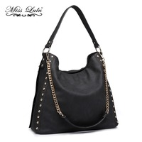 Miss Lulu Women Studs Pendant Hobo Handbags Chain Shoulder Bags Black Top handle Bag Ladies Synthetic Leather Large Totes LH6811