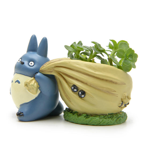 Blue Totoro With Bag Flower Pot