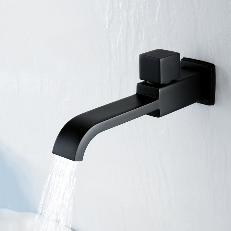 Matte Black Square Bathroom Basin Faucet Wall Mounted Cold  Water Faucet Bathtub Waterfall Spout Vessel Sink Faucet Mop Pool Tap