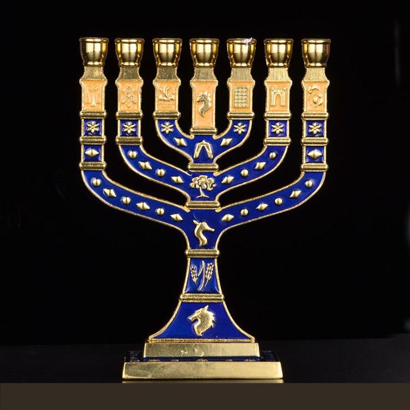 Hanukkah Menorah Jewish Judaica Israel Vintage Brass Chanukah Displays-in Jewelry Packaging & Display from Jewelry & Accessories