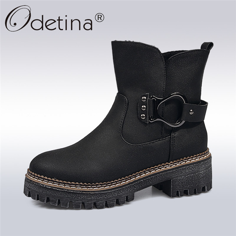Odetina 2017 New Fashion Womens Thick Platform Ankle Boots Flat Low Heel Metal Buckle Winter Warm Snow Boots Fur Slip on Shoes