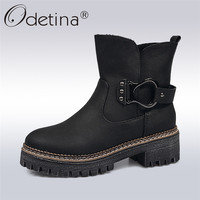 Odetina 2017 New Fashion Womens Thick Platform Ankle Boots Flat Low Heel Metal Buckle Winter Warm
