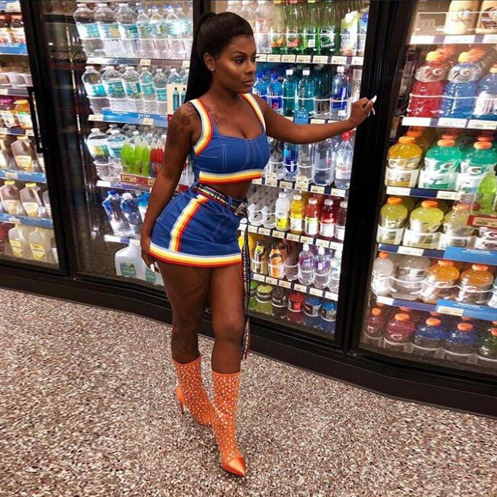 KGFIGU Two Piece Set 2018 Summer women crop tops and Mini Skirts Sets 2pcs Blue Denim outfits 2 piece set women matching sets 1