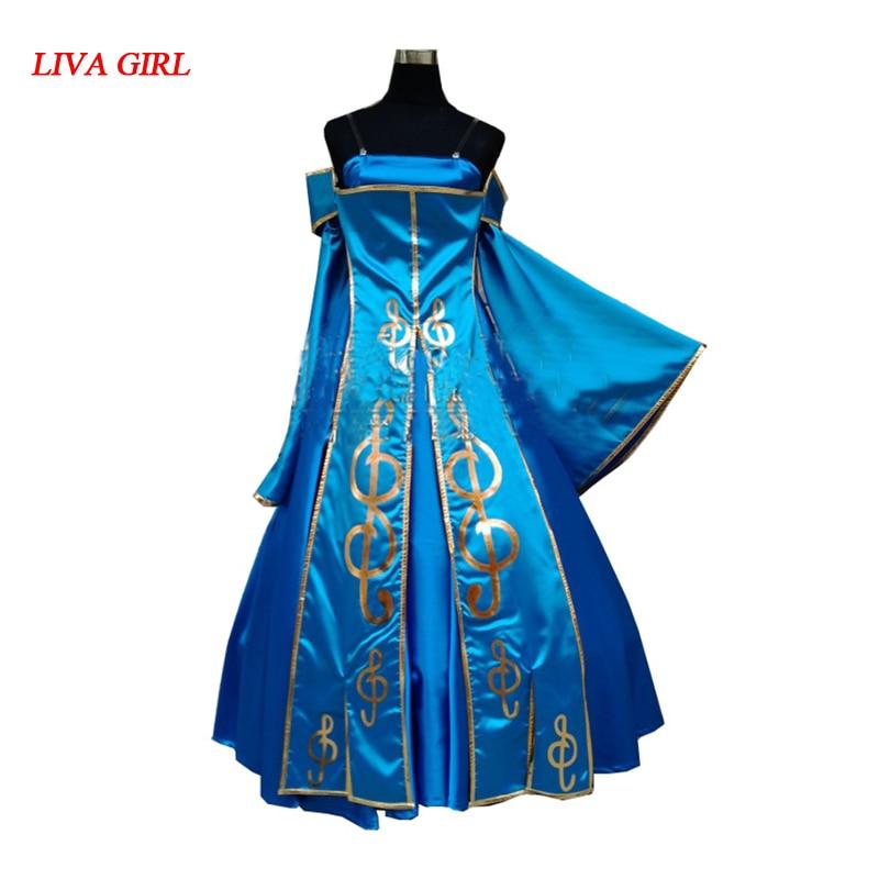 2017 lol Sona cosplay costume robe pour les filles de haute qualité n'importe quelle taille peut être faite sur mesure
