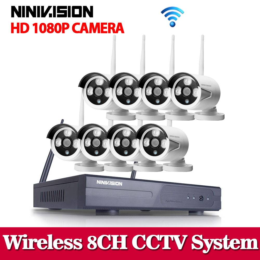 NINIVISION 1080P Wireless CCTV System 2MP 8ch HD NVR kit Outdoor IR Night Vision IP Wifi Camera Security System Surveillance kit