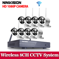 NINIVISION 1080P Wireless CCTV System 2MP 8ch HD NVR Kit Outdoor IR Night Vision IP Wifi