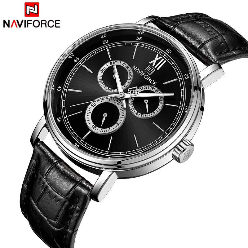 NAVIFORCE Men Watch Fashion Casual Quartz Wristwatch Men's Military Sport Watches Male Calendar Display Clock Relogio Masculino goldenhour sport double display men wristwatch fashion casual men quartz watch led week display army alloy strap male clock