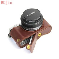 Genuine Cowhide Leather Half Body Camera Case Base For Panasonic GF10 GF9 GF8 GF7 With Battery Opening,Free Shipping