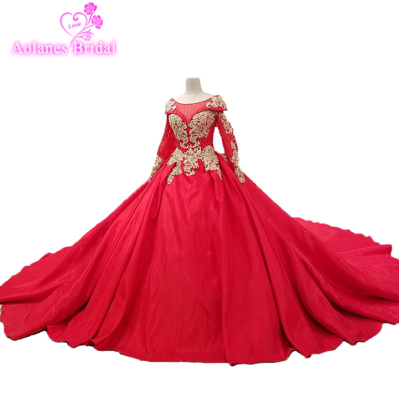 2018 New Arrival  Appliques Ball Gown Chapel Train Prom Dress Long Sleeves Red Satin Evening Dresses Long Abiye  Formal Gown