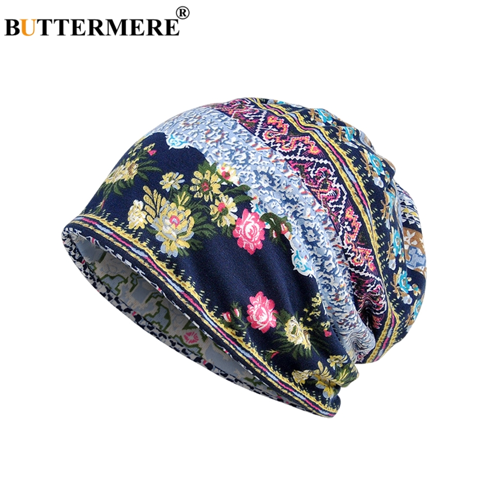 BUTTERMERE   Beanie   Women Cotton Turban Hat Print Blue   Skullies     Beanies   Ladies Thin Ethnic Style Classic Bandana Skull Cap Coffee
