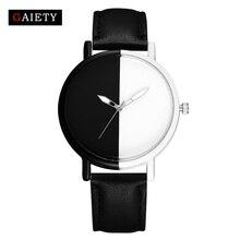 Gaiety Women Fashion Luxury Watch Black White Ladies Wristwatch Fashion Casual Leather Strap Watch Women DressQuartz Watch G523