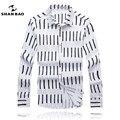 ШАН БАО clothing brand мужские рубашки минималистский стиль полосатые письма печатаются в осень 2017 новый Тонкий белый длинный рубашка с короткими рукавами