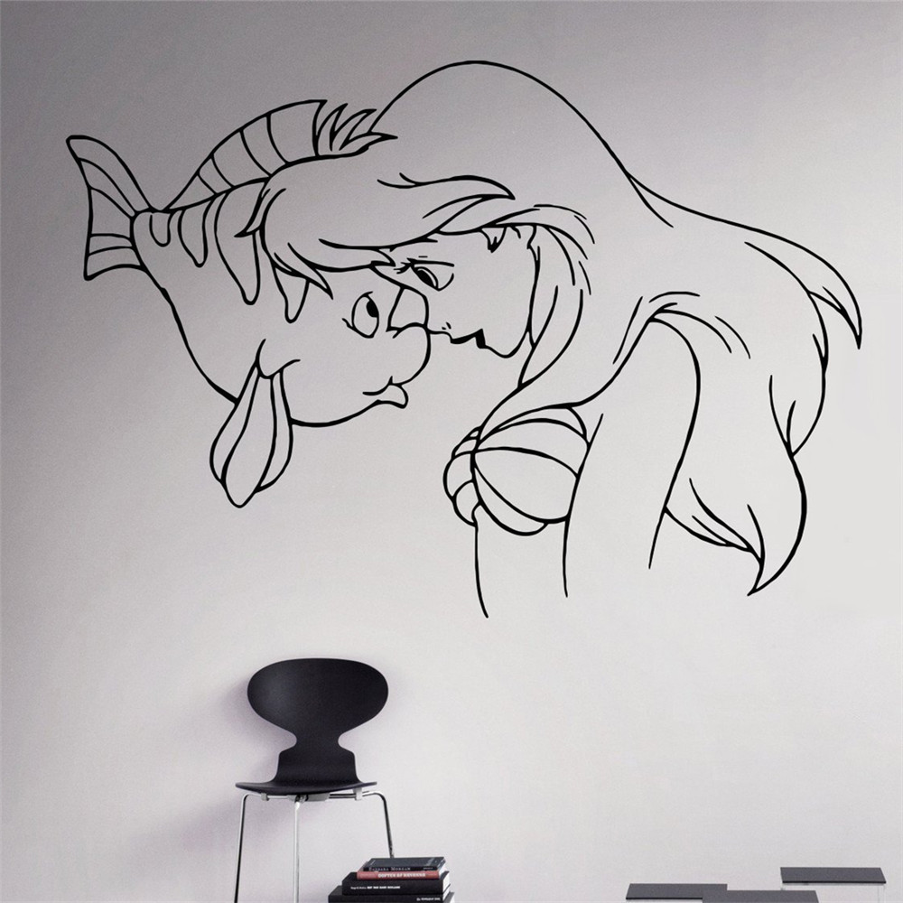 Free shipping comics art princess little mermaid ariel vinyl decal free shipping comics art princess little mermaid ariel vinyl decal home decoration nursery room removable wall stickers in underwear from mother kids on amipublicfo Images