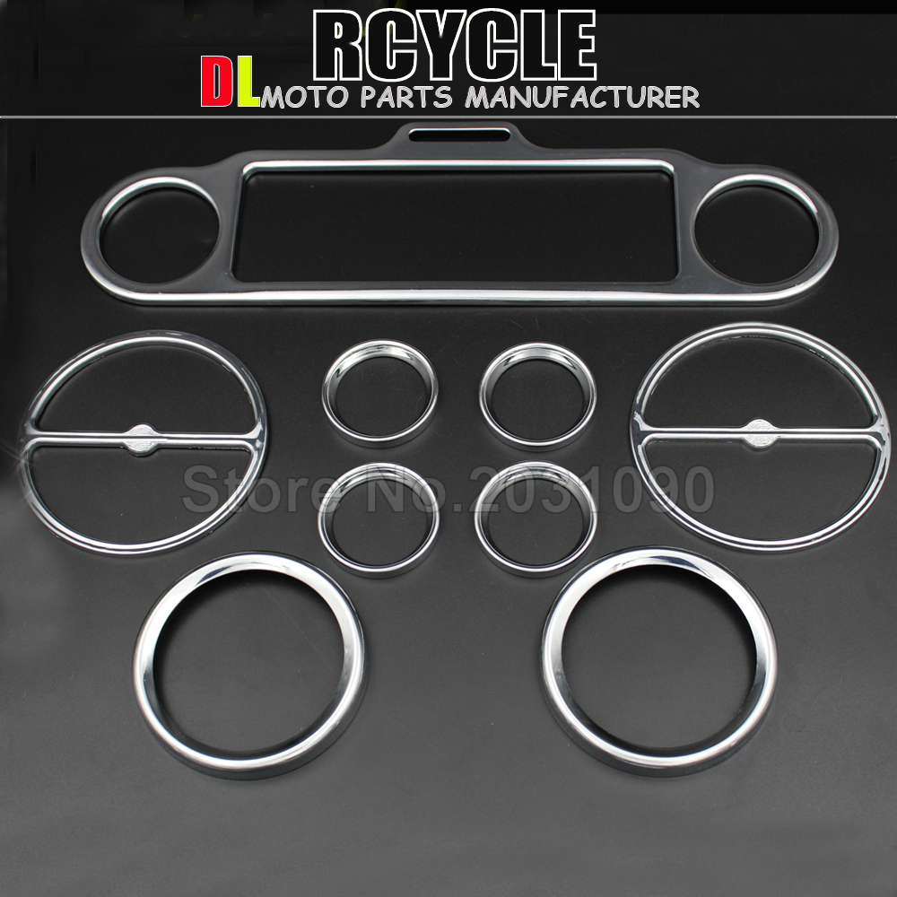scooter parts 9pcs Chrome Speedometer Gauges Bezels and Horn Cover For Harley Davidson Touring free shipping