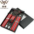 YOUWELL Couro Moda 4 Clips Suspender Suspensórios Casuais Masculinos Do Vintage 3.5X120 cm Ocidental-estilo Calças do Homem suspensórios Cinta
