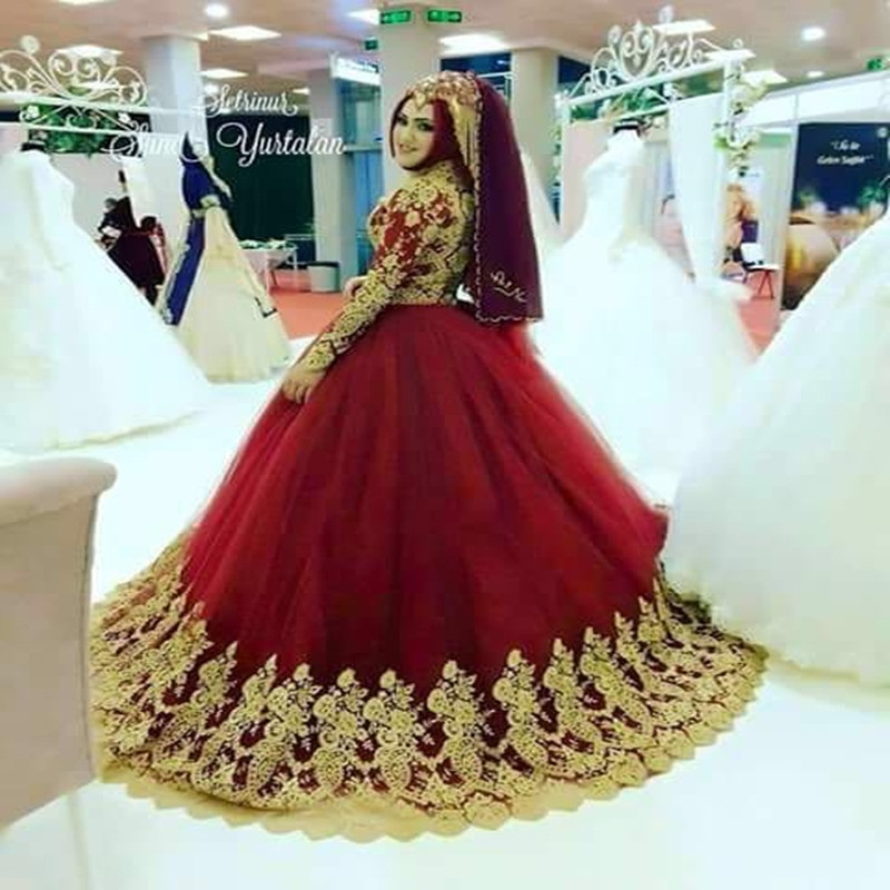 2017 Red Ball Gown Wedding Dress Muslim Bridal Gowns Long Sleeve High Neck Gold Liques Vestido De Novia Custom Bridel In Dresses From