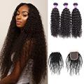Brazilian Kinky Curly Virgin Hair With Closure Deep Curly Weave Human Hair With Closure Queen Hair Products With Closure Bundle