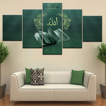5 Panels Framed Modern Art Wall Oil Painting of Islamic Calligraphy Arabic Scriptures Home Decoration Framework Posters