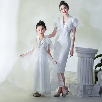 Mother Daughter Dresses for Wedding Party Dress for Mum and Daughter 2019 New White Mommy Daughter Matching Long Dresses