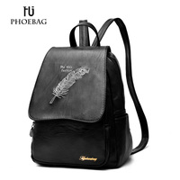 HJPHOEBAG Women Backpacks Fashion Women Black Cover School Bags For Teenagers Ladies High Quality PU Leather