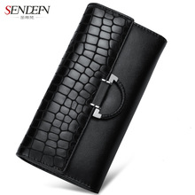 Sendefn Women Long Serpentine Wallet Cow Split Leather Lady Purse Phone Pocket Coin Card Holder Female Wallets(Black)