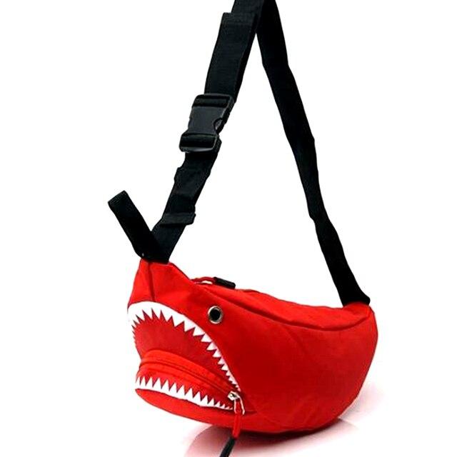 2019 Fashion Waist Bags Women Designer Fanny Pack Cartoon Nylon Belt Bag Female Mini Chains Waist Pack Shark Bolsa Feminina New