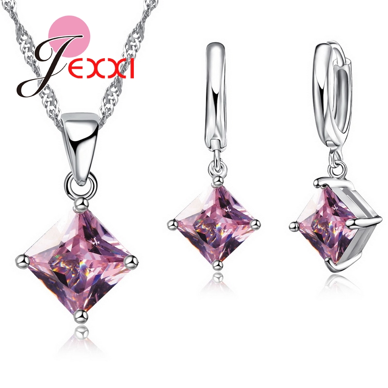 PATICO Newest 8 Colors Jewelry Sets Women Quadrilateral 925 Sterling Silver CZ Crystal Necklace/Earrings Jewelry Wholesale