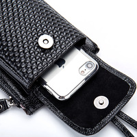 Genuine Leather Women Mobile Phone Bags Fashion Small Change Purse Female Woven Buckle Shoulder Bags Mini