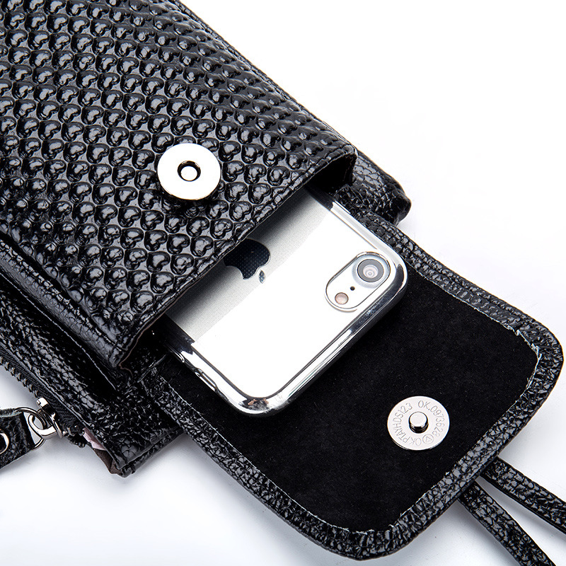 Genuine Leather Women Mobile Phone Bags Fashion Small Change Purse Female Woven Buckle Shoulder Bags Mini Messenger Bag Black