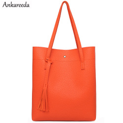 Ankareeda Women Shoulder Bags High Quality Women's Soft Leather Handbag Luxury Brand Tassel Bucket Bag Fashion Women's Handbags