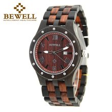 BEWELL Fashion Luxury Brand Wooden Watch for Man Round Dial Date Display Wristwatch and Luminous Pointers Wood Watch 109A(China)