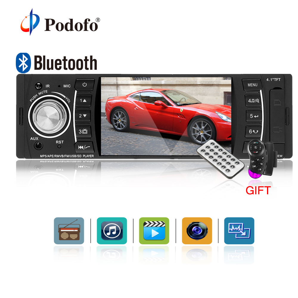 Podofo 4.1 Inch 1 Din HD Bluetooth Car Stereo Radio Autoradio MP3 MP5 Audio Player Support USB FM TF AUX Reverse Rearview Camera 7 inch hd touch screen 2 din bluetooth auto car audio stereo fm mp5 player support aux usb tf phone reverse rearview camera