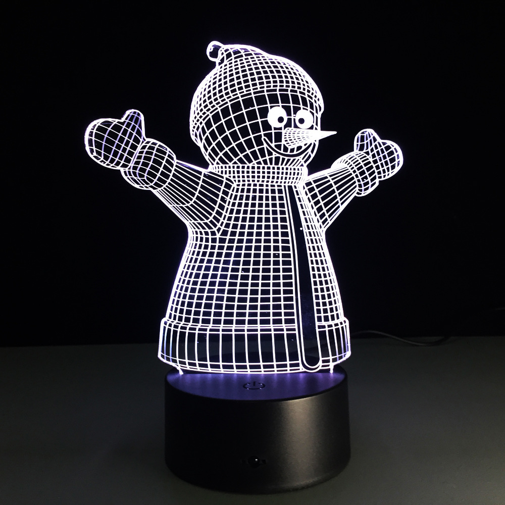 christmas snowman 7 color lamp 3d visual led night lights for kid touch usb table lampara lampe baby sleeping nightlight usb led in led night lights from