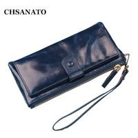 CHSANATO Genuine Leather Women Wallet Female Purse Phone Women Wallet Designer Candy Color Clutch Coins Card Holder Money Bag