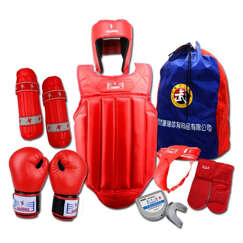 Sanda ensemble complet 8 pcs protecteur Taekwondo Karaté Sport shin garde casque corps protecteur aine garde poitrine garde de boxe gants