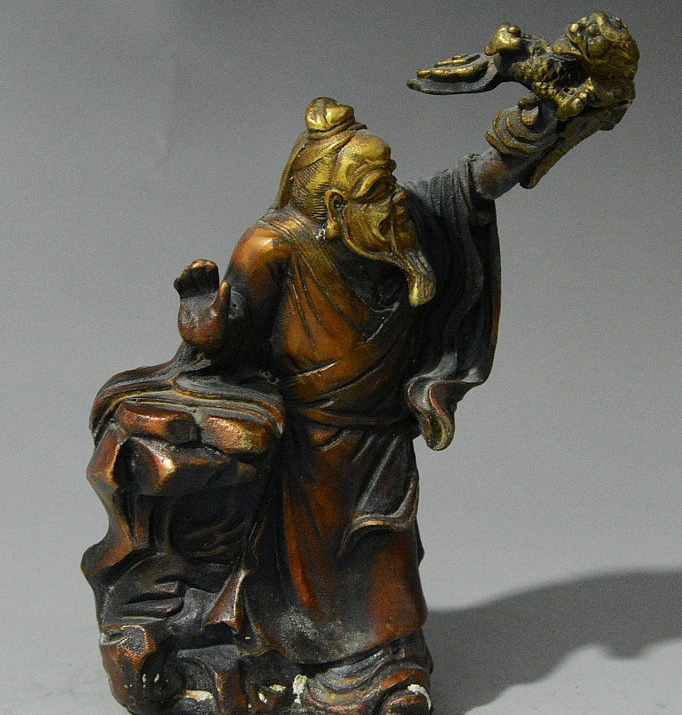 Old Chinese Folk Red Bronze Stand Strange Old Man Catch Kylin Kylin Beast StatueOld Chinese Folk Red Bronze Stand Strange Old Man Catch Kylin Kylin Beast Statue